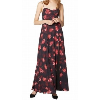 Fame And Partners NEW Black Red Rose Print Women's Size 4 Maxi Dress