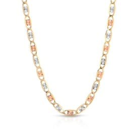 MCS JEWELRY INC 10 KARAT THREE TONE, YELLOW GOLD, WHITE GOLD, ROSE GOLD NECKLACE (1.4MM)