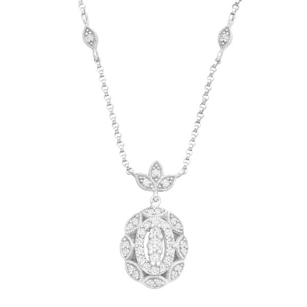 1/3 ct Diamond Scalloped Necklace in 14K White Gold