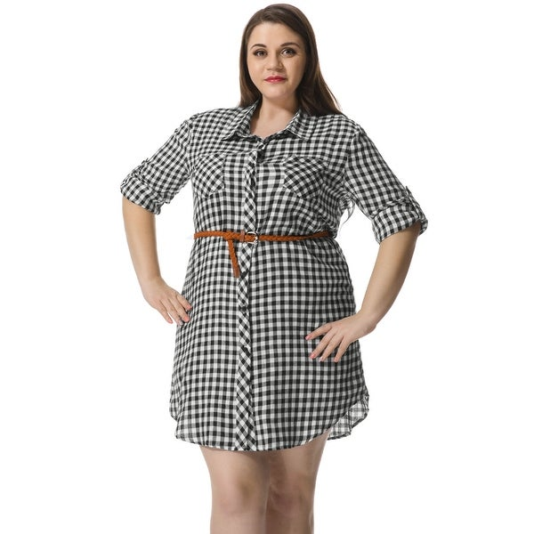 Shop Allegra K Womens Plus Size Belted Plaid Shirt Dress White