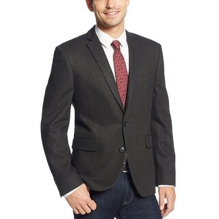 Bar III Slim Fit Olive and Black Herringbone 2-Button Sportcoat Blazer