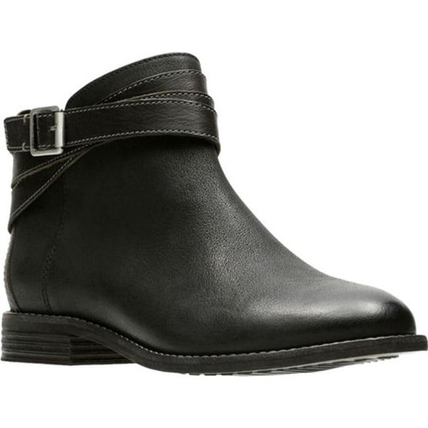 f261be17efb Clarks Women  x27 s Maypearl Edie Ankle Bootie Black Leather Full Grain  Leather
