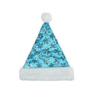 "14"" Blue Sequin Snowflake Christmas Santa Hat with White Faux Fur Brim - Medium Adult Size"