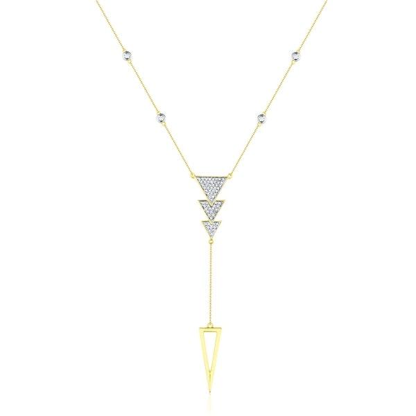 0.19Ct Round Brilliant Cut G-H/SI1 White Diamond Tringle Shaped Necklace