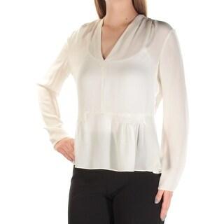 REBECCA TAYLOR $275 Womens New 1491 Ivory Sheer V Neck Long Sleeve Top 10 B+B