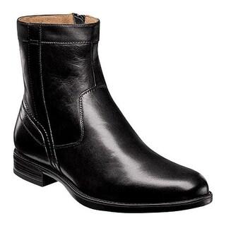 Florsheim Men's Midtown Plain Toe Zip Boot Black Smooth Leather