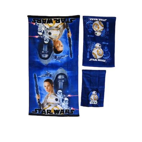 KIDS BATHROOM BATH TOWEL 3PC SET CARTOONS CHARACTERS Boys Star Wars BB-8