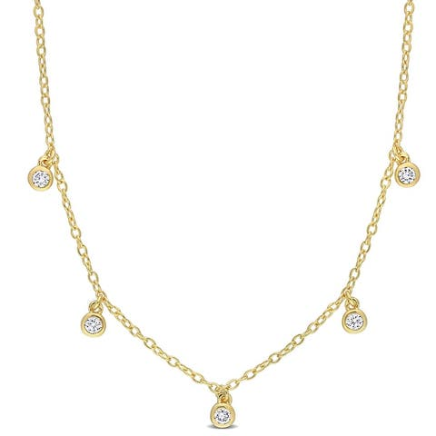 Eternally Yours Lab-Created Diamond Station Necklace in 18k Yellow Micron Plated Sterling Silver