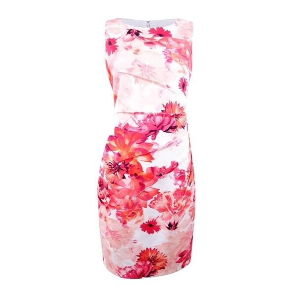 ac67b14d751de Shop Calvin Klein Women's Floral-Print Starburst Sheath Dress - Watermelon  Multi - Free Shipping Today - Overstock.com - 27412893