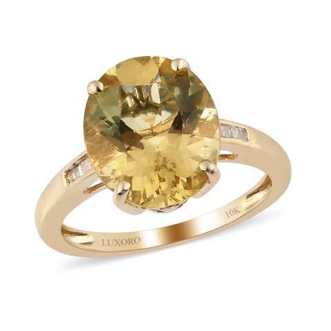 Yellow Gold Labradorite Diamond Ring Size 9 Ct 4.2 H Color I3 Clarity