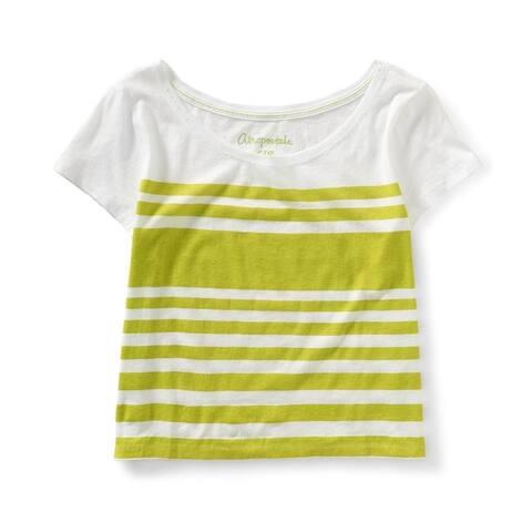 Aeropostale Womens Striped Basic T-Shirt, Yellow, X-Large