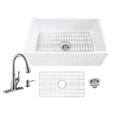 Soleil All-In-One Apron Front Fluted/Plain Reversible Fireclay Single Bowl Kitchen Sink with Pull Out Faucet