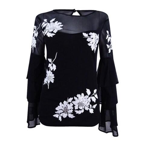 INC International Concepts Women's Embroidered Tiered Top (XXL, Deep Black) - Deep Black - XxL