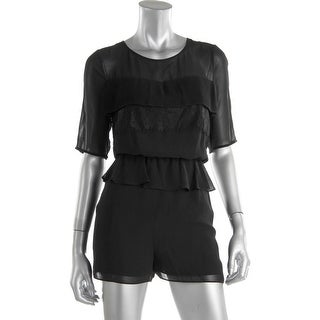 BCBGeneration Womens Illusion Peplum Romper
