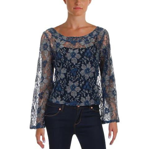 Aqua Womens Blouse Floral Lace