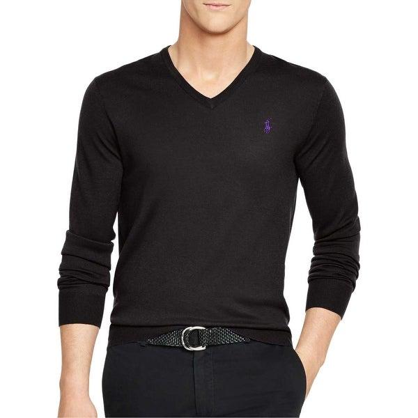 36890984 Shop Polo Ralph Lauren Merino Wool V-Neck Sweater Black Solid Medium ...