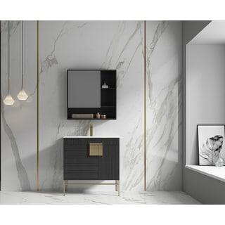 "Link to None Bulanka 32"" Bathroom Vanity Dawn grey Finish , Golden Brass Hardware Similar Items in Bathroom Furniture"