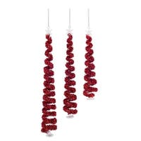 "Spiral Christmas Tree Ornament (Set of 3) 7.5""H-11.5""H Glass - RED"