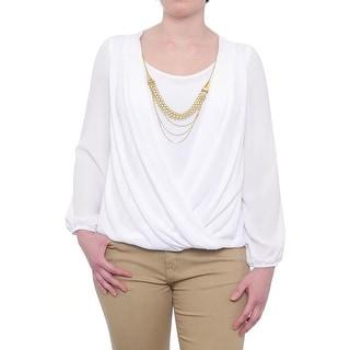 Thalia Sodi Necklace-Trim Long Sleeve Scoop Neck Surplice Blouse Women