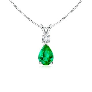Angara Pear Emerald Teardrop Pendant Necklace with Diamond - Green