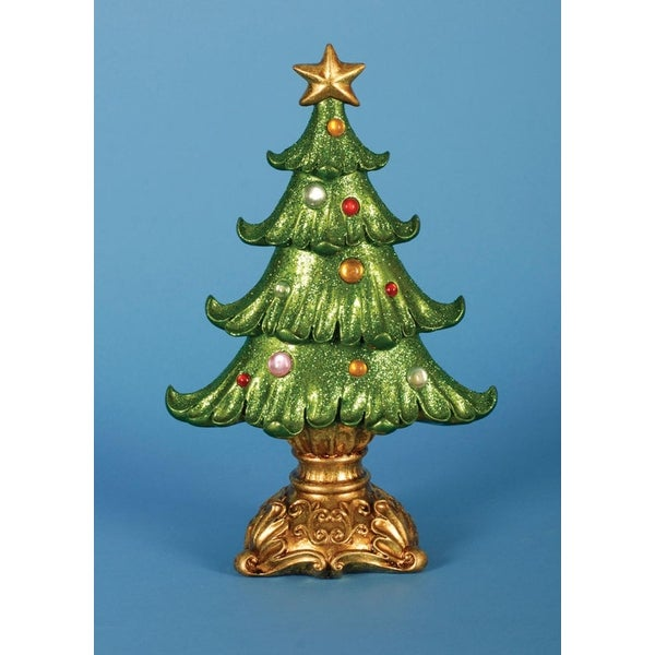 """Pack of 2 Ornate Glittered Table Top Christmas Tree Decorations 12"""" - green"""