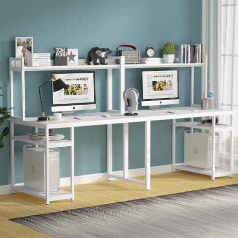 Extra Long Double Computer Desk with Hutch Storage Two Person desk Home Office