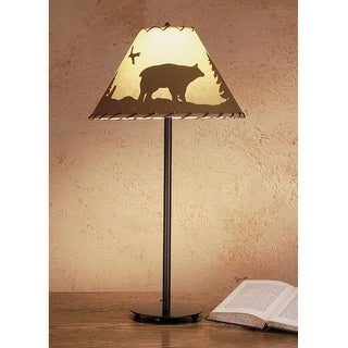 29 Inch H Bear In The Woods Painted Table Lamp Table Lamps