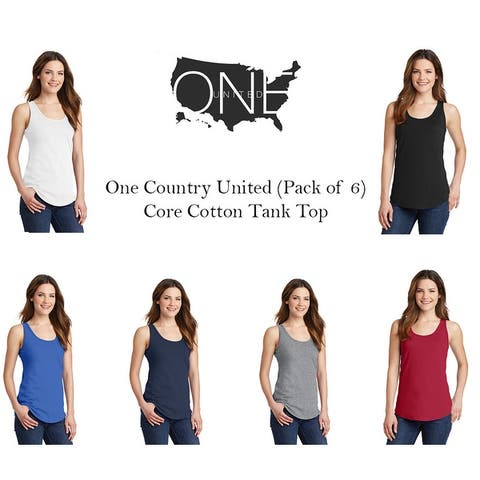 One Country United Women's Core Cotton Tank Top. 6 Pack