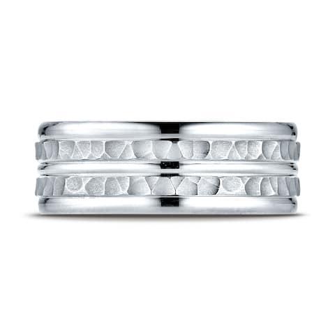 Platinum 8mm Comfort-fit Hammer-finished High Polished Center Trim and Round Edge Carved Design Band