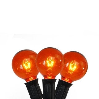 Set of 10 Transparent Orange G40 Globe Halloween Lights - Black Wire