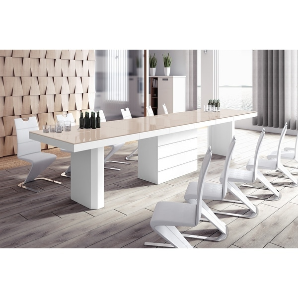 VOLOS Extendable High-gloss Modern Dining Table. Opens flyout.