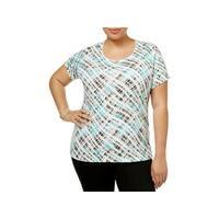 Karen Scott Womens Plus Casual Top Printed Scoop Neck