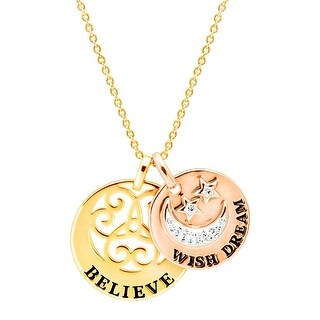Wish Dream Believe Crystal Disc Pendant 18K Two-Tone Gold-Plated Brass - White