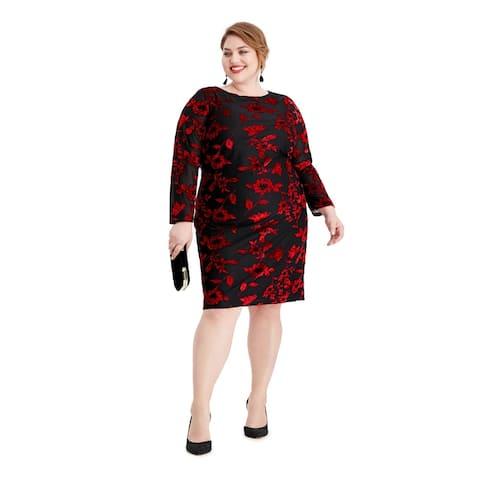 JESSICA HOWARD Black Long Sleeve Knee Length Sheath Dress Size 18W