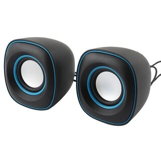 Unique Bargains Blue Black Volume Control 2.0 Channel Mini Speaker Music Amplifier Box Pair