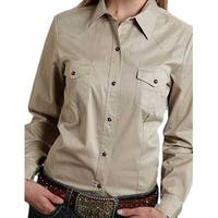 Roper Western Shirt Womens L/S Solid Snap Tan