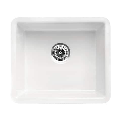 "ALFI brand Traditional Fireclay Undermount Rectangular Kitchen Sink 20"" x 17"" - White"