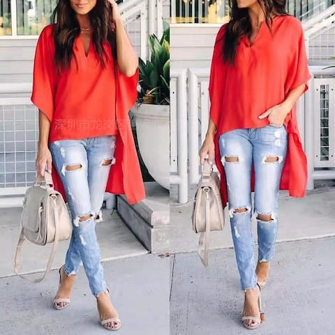 Women Casual Deep V Neck Short Sleeve Tops Summer Loose Irregularity Long Shirt