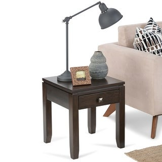 Link to WYNDENHALL Essex SOLID WOOD 18 inch Wide Square Contemporary End Side Table Similar Items in Living Room Furniture