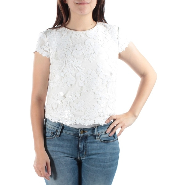 68694c14b2d Shop LAUREN RALPH LAUREN Womens New Floral Sequined Crop Top, White, 2 -  White - Free Shipping On Orders Over $45 - Overstock.com - 22851054
