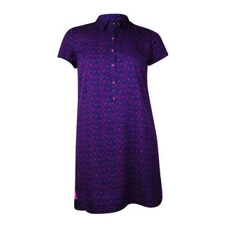 Tommy Hilfiger Women's Crepe Short Sleeve Shirt Dress (L, Prussian Purple) - l