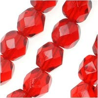 Czech Fire Polished Glass Beads 6mm Round Ruby Siam Red (25)