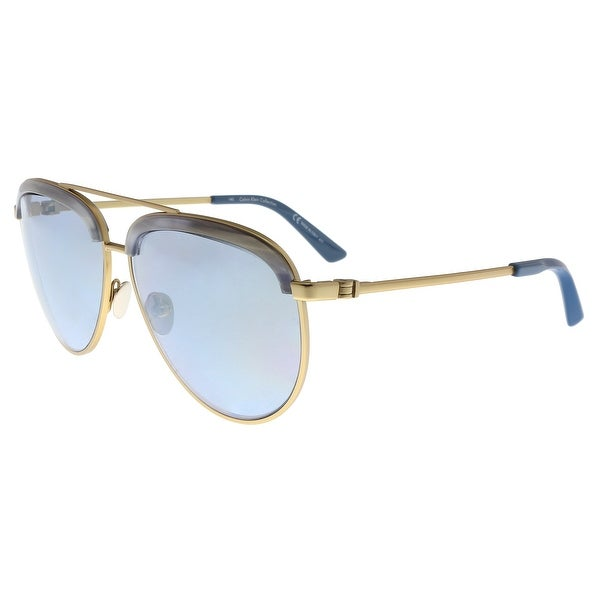 0c997b30d8e6 Shop Calvin Klein CK8048S 718 Satin Gold Pilot Sunglasses - 60-12 ...