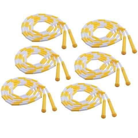 Plastic Segmented Jump Rope 8', Yellow & White, Pack of 6
