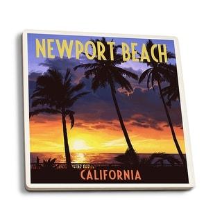 Newport Beach, CA - Palms & Sunset - LP Artwork (Set of 4 Ceramic Coasters)