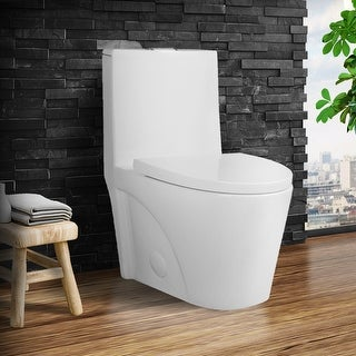 Link to Fine Fixtures Dual-Flush Elongated One-Piece Toilet with High Efficiency Flush Similar Items in Toilets