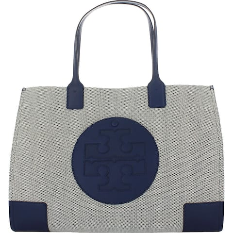 Tory Burch Womens Ella Tote Handbag Canvas Logo - Navy - Large