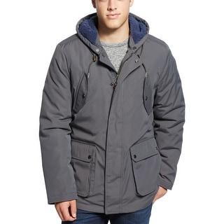 Tommy Hilfiger Biderford Anorak Hooded Sherpa Coat Large L Asphalt Gray
