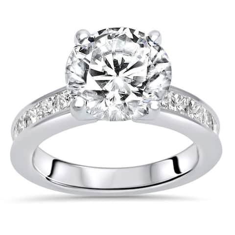 14k White Gold 2.50ct Round Moissanite and 9/10ct Diamond Engagement Ring
