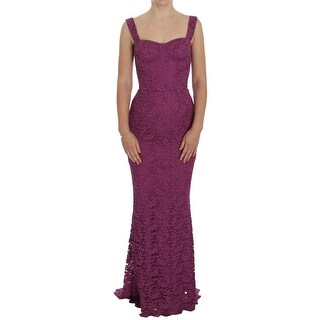 Dolce & Gabbana Purple Floral Lace Ricamo Maxi Dress - it36-xs